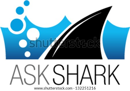 Shark fin in water - stock vector