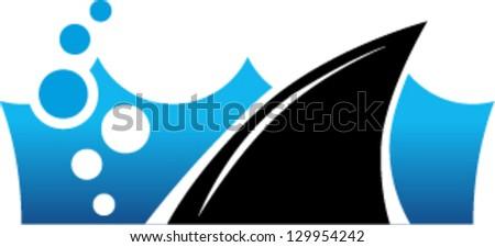 Shark fin in water. Logo, symbol, sign - stock vector