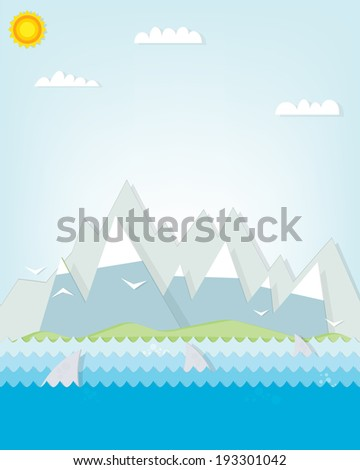 shark floating mountains in the background - stock vector