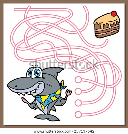 Shark game. Vector illustration of maze(labyrinth) game with cute cartoon Shark for children - stock vector