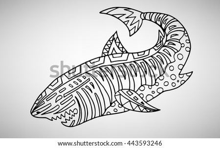 Shark. Hand-drawn with ethnic pattern. Coloring page - isolated on a white background. Zendoodle patterns. Vector illustration.