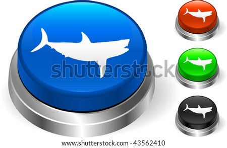 Shark icn on internet button Original Vector Illustration Three Dimensional Buttons - stock vector