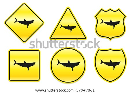 Shark Icon on Yellow Designs Original Illustration - stock vector