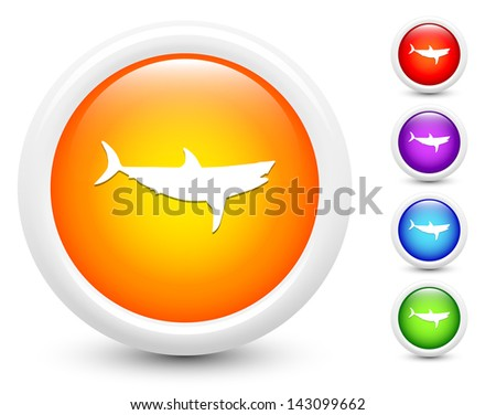 Shark Icons on Round Button Collection Original Illustration - stock vector