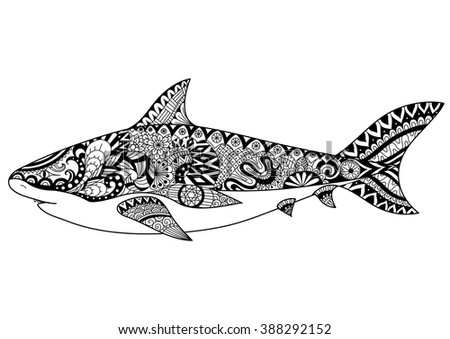 Shark Line Art Design Coloring Book Stock Vector (Royalty Free ...