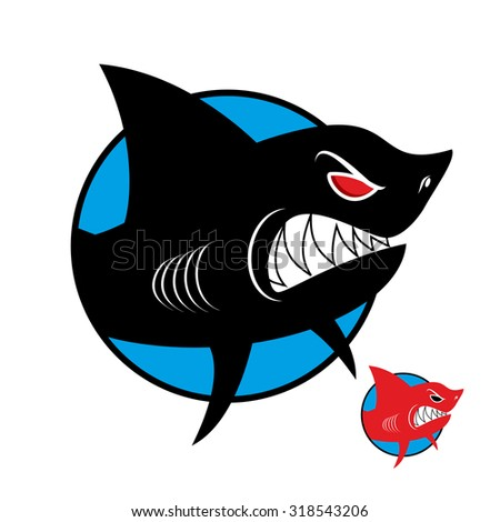 Shark logo. Angry shark in  circle. Vector logo for sports team or club.