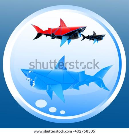 Shark Origami Stock Vector 402758305 Shutterstock