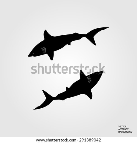 Shark. Silhouette of a shark. Danger. Pack of sharks. Shark icon. Underwater inhabitants