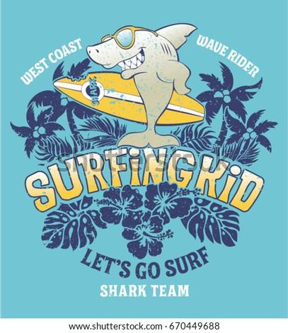Shark Surfing Kid Team Vector Print Stock Photo (Photo, Vector ...