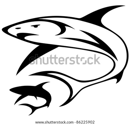 shark vector illustration - black and white outline - stock vector