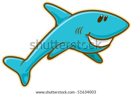 Shark. Vector without gradients, great for printing. - stock vector