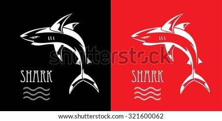 shark. white shark. line art of Shark illustration combine with text. wild shark. Fearless shark. label. Shark Mascot Vector Graphic. Predator.  - stock vector