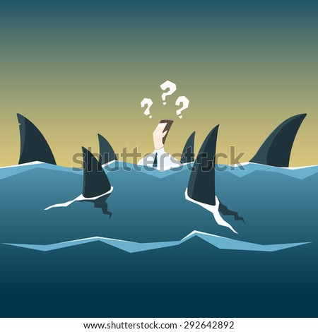 Sharks attack businessman who is drowning in the sea. Vector financial and economic crisis concept. - stock vector
