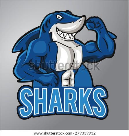 Sharks Mascot - stock vector