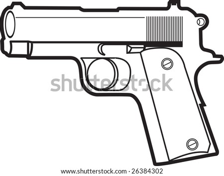 Sharp and clean vector illustration of a pistol. - stock vector
