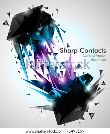 Sharp Contacts, 3d Abstract shapes Background. - stock vector