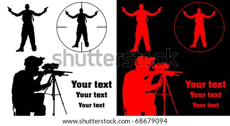 sharpshooter aiming his rifle at a terrorist; - stock vector