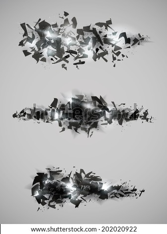 Shattered effect design collection - stock vector
