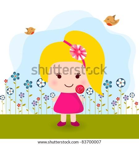 She is a cute girl. Vector illustration - stock vector