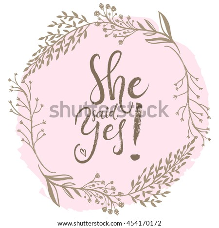 She Said Yes Engagement Bride Greeting Stock Photo Photo Vector