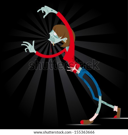 She-Zombi. A vector cartoon zombie. Great illustration of a comic book style zombie girl. Perfect for a Halloween or horror illustration.  - stock vector
