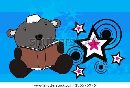sheep baby cute reading cartoon background in vector format very easy to edit - stock vector