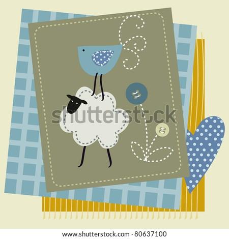 sheep button bird  patchwork - stock vector