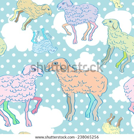 Sheep cartoons seamless pattern, childish illustration over a background with dots and clouds - stock vector