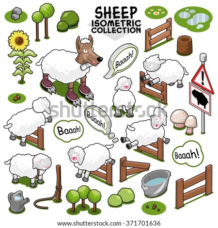 Sheep collection with wolf in sheep's clothing, items to build a flock of sheep on farmland. Isometric vector set - stock vector