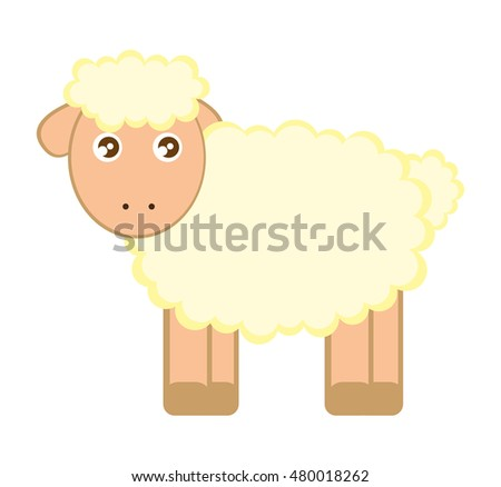 sheep cute character little vector illustration design