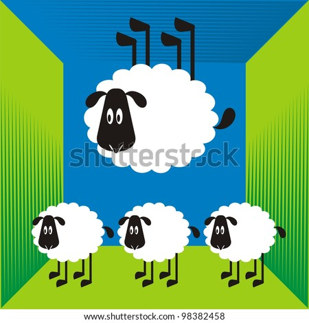 Sheep, good and different # 13 Set for the press on T-shirts.