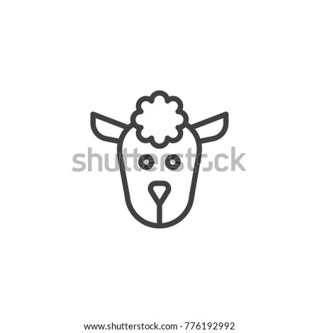 Sheep head line icon, outline vector sign, linear style pictogram isolated on white. Symbol, logo illustration. Editable stroke