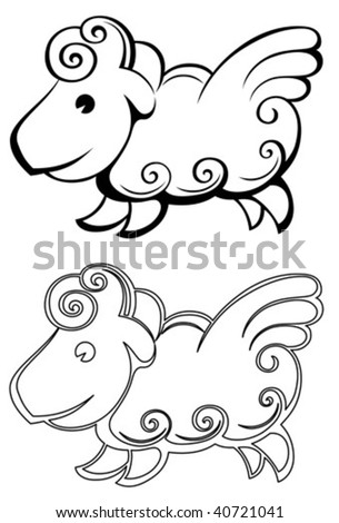 Sheep isolated in a white background
