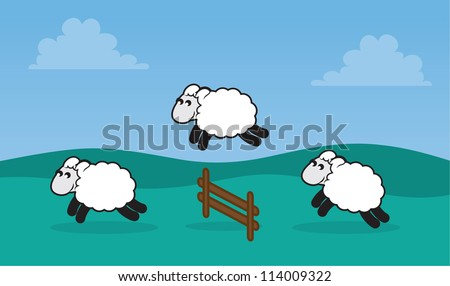 Sheep jumping over a fence in a grassy field - stock vector