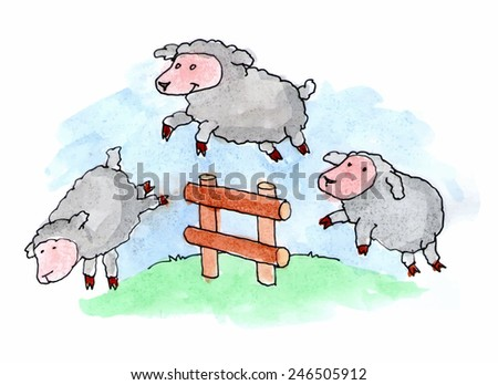 Sheep jumping over a fence in a grassy field. Vector illustration. - stock vector