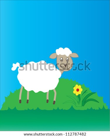 Sheep on a small hill with flower - stock vector