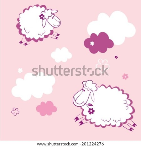 Sheep on clouds - cute cartoon childish pattern in vector  - stock vector