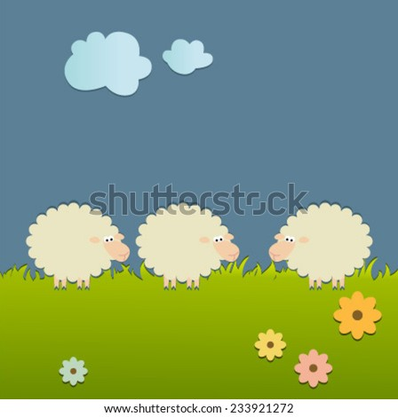 sheep on grass card with flowers & clouds - stock vector