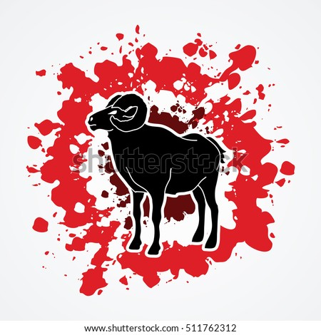 Sheep with big horn standing designed on splatter blood background graphic vector.
