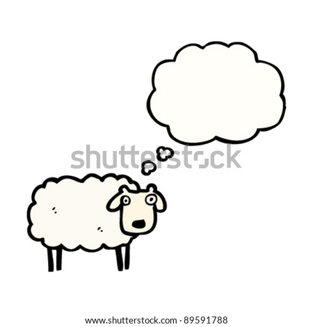 sheep with thought bubble cartoon