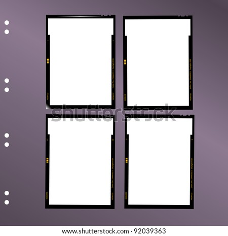 sheet film contact sheet, vector, blank photo frames - stock vector