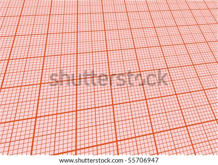 sheet of graph paper with perspective - stock vector