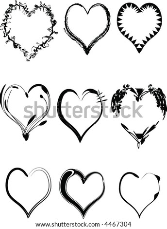 Sheet of nine heart vector graphics with modern, organic, grunge look. - stock vector