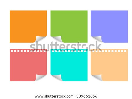 Sheet of note paper on white  background.Vector 