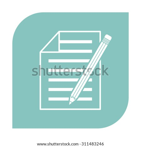 Sheet of paper and pencil icon - stock vector