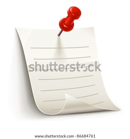 sheet of paper for notes pinned by pin, vector illustration isolated on white background - stock vector