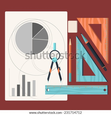 Sheet of paper with charts and tools designer. Compasses pencil ruler eraser cartoon flat design style - stock vector