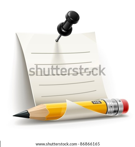 sheet paper pinned by pin with pencil vector illustration isolated on white background - stock vector