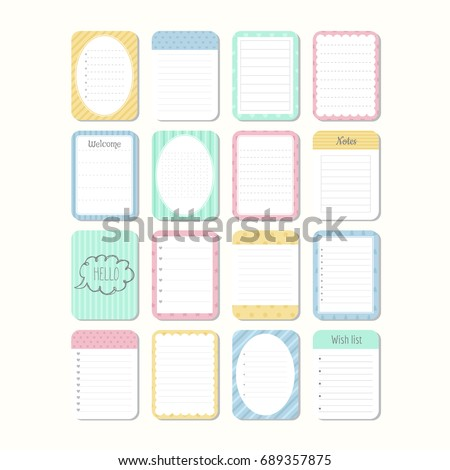 Sheets Of Paper. Template Notepad. Collection Of Various Note Papers. Cute  Design Elements  Note Paper Template