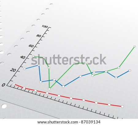 Sheets of the diary with a graphs, vector illustration - stock vector